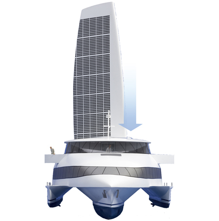Solar Sailor with Solar Cells on Top of The Sails
