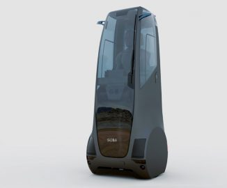 Futuristic SOLE Stand-Up Vehicle for Solo Commuters with Zero-Degree Turning Radius