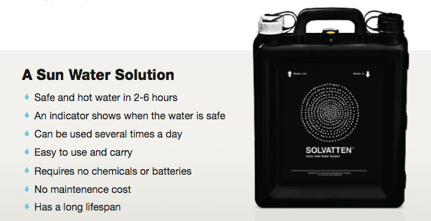 Solvatten Water Container Purifies Water Using Sunlight