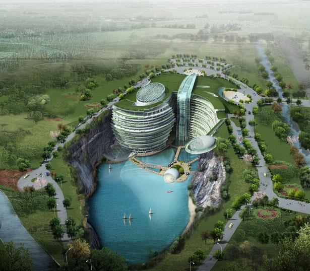 Stunning SongJiang Hotel Project Takes Advantage of Abandoned Water-Filled Quarry