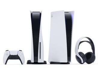 Sony Playstation 5 Game Console Is Designed to Stand Vertically in Black and White Color Theme