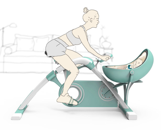 Spinning Together: Baby Cradle and Static Exercise Bike in One by Sen Lin