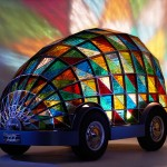 Stained Glass Driverless Sleeper Car for The Year of 2059