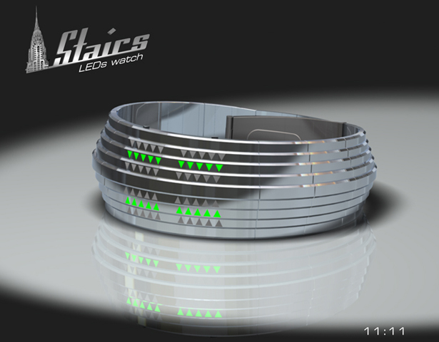 Fashionable Stairs LED Watch Concept for Women