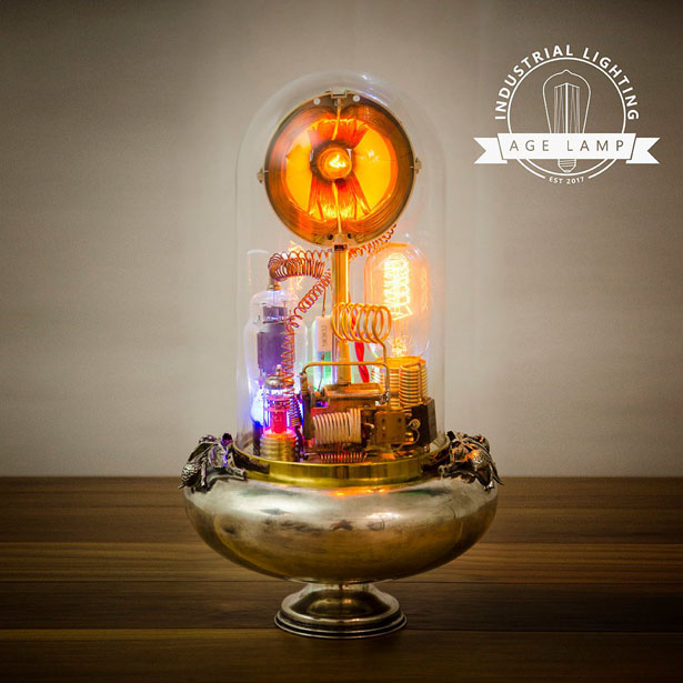 Steampunk Lamp Art Sculpture with Glass Dome Display by Age Lamp