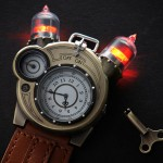 Cool Tesla Steampunk Styled Watch Features Two Faux Vacuum Tubes with Red LEDs