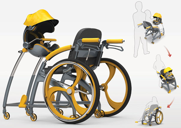 Stroller Adapted Elderly Wheelchair by Jheng Yun-Sheng and Ng Chee Zhong