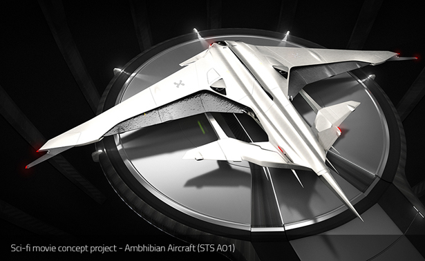 STS A01 Amphibian Aircraft Sci-Fi Movie Concept Project by Rene Gabrielli