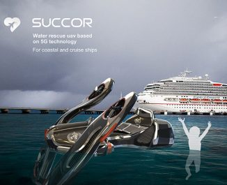 Succor Water Rescue Concept Drone with 5G Technology for Coastal and Cruise Ships