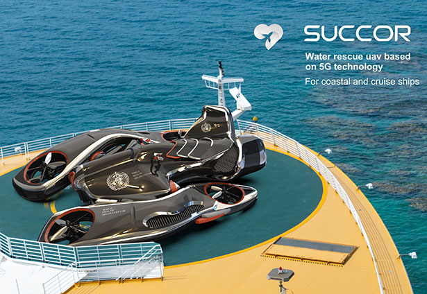Succor Water Rescue Concept Drone with 5G Technology