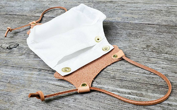 Summerweight Natural Vegetable Tanned Leather and Linen Face Mask