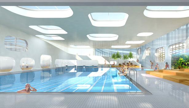 Piscine du fort winning entry of swimming pool feng shui for Pool design studio