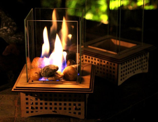 Roasting S'mores with Mini Tabletop Glass Fireplace