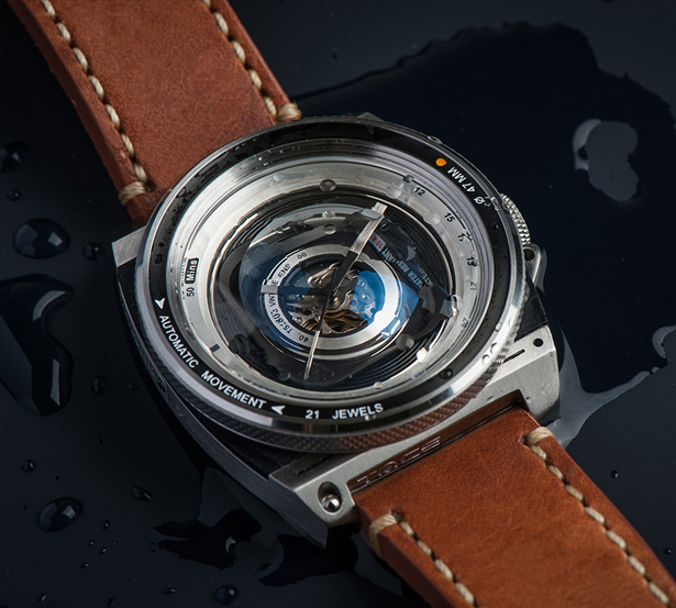 Camera Lens Inspired TACS Automatic Vintage Lens II Watch for Photography Lovers