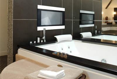 Techvision infinity your bathroom tv tuvie for Can you put a tv in the bathroom