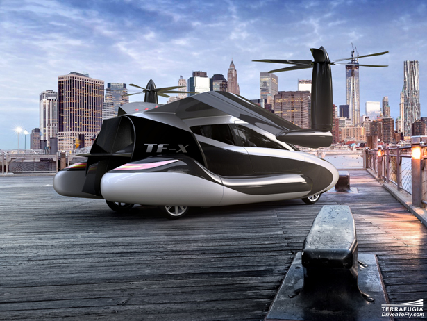 Terrafugia TF-X Hybrid Electric Flying Car with Full-Vehicle Parachute System