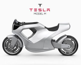 Tesla Model M Motorcycle Concept Uses Top Panel as Its Display Touchscreen