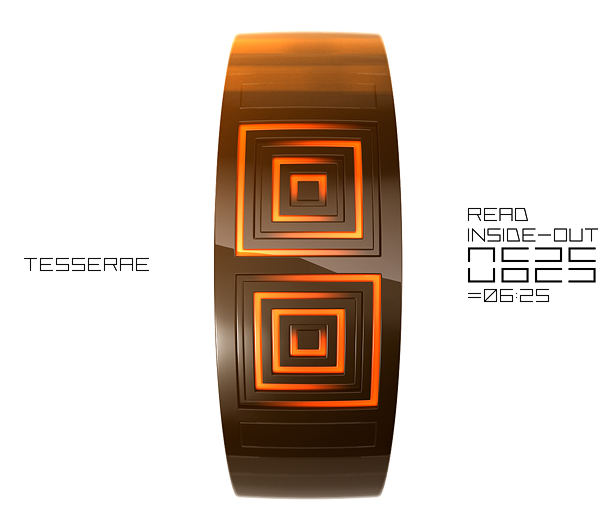 Tesserae Digital Time Split Watch by Samuel Jerichow