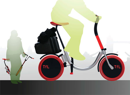 TFL Bikeshare Network Concept with Foldable E-Bike and Electrical Modular Buses