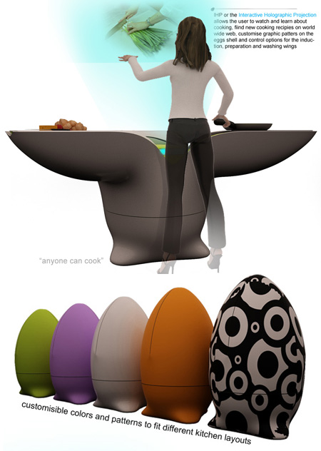 the egg futuristic concept kitchen