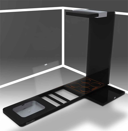 The Electrolux Alinea Futuristic Kitchen Can Slide Up To The Ceiling To Reveal Extra Usable Interior Space