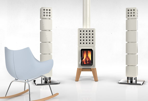 ThermoStack Stove Centered Heating System by Adriano Design & Modular ThermoStack Modern Heating System Is Highly Customizable - Tuvie