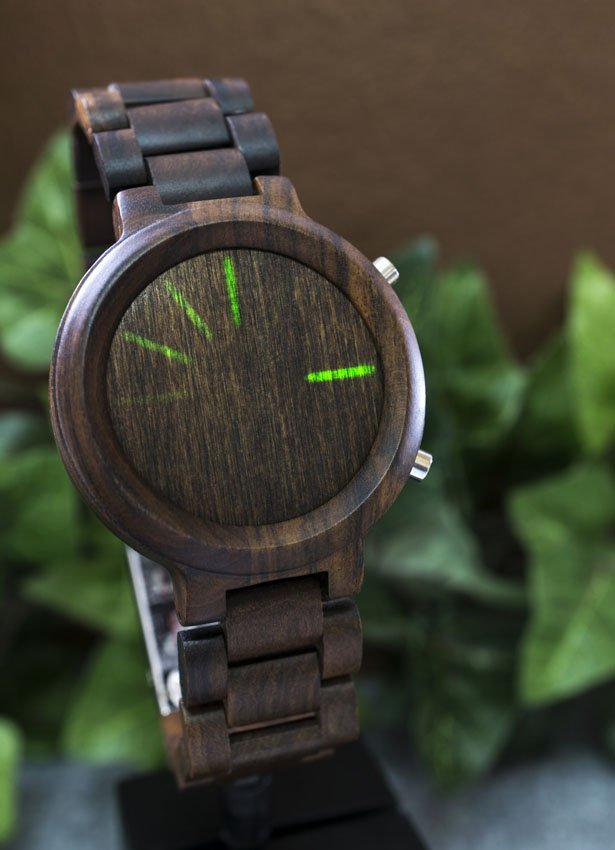 Kisai Blade Wood LED Watch Is Equipped with Kisai Link to Connect with Your Smartphone