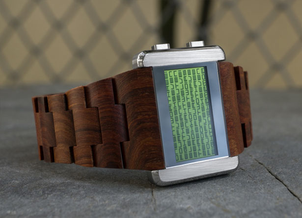 Tokyoflash Kisai Kaidoku Wood LCD Watch by Tynan Mayhew