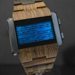 Tokyoflash Kisai Kaidoku Wood LCD Watch with Stainless Steel Case