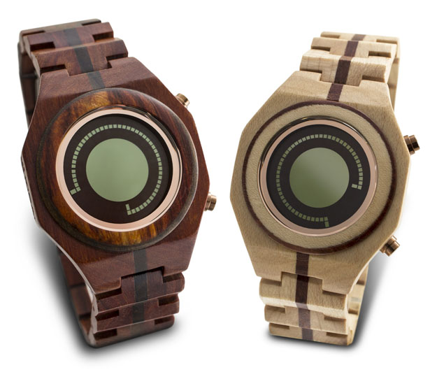 Tokyoflash Kisai Maru Wood LCD Watch Displays Time In One Simple Curved Line