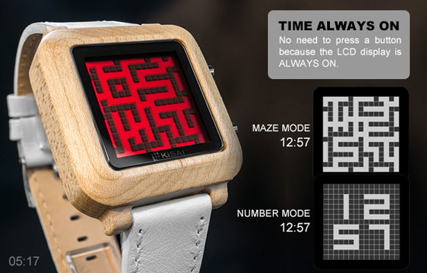 Tokyoflash Kisai Maze Wood LCD Watch