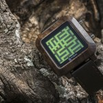 Tokyoflash Kisai Maze Wood LCD Watch with Leather Strap