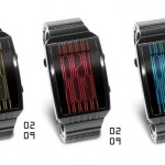 Tokyoflash Kisai Online LCD Watch Features Vertical Lines Theme in Cryptic Pattern