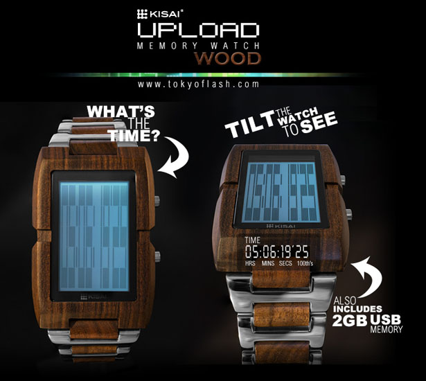 Tokyoflash Kisai Upload Wood LCD Watch