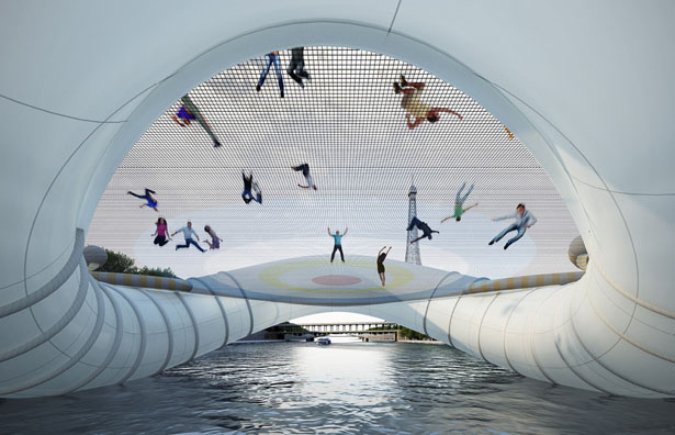Trampoline Bridge Concept for Paris by Atelier Zundel Cristea