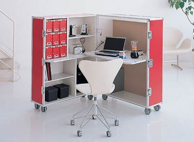 portable office in a box, trunk station ad
