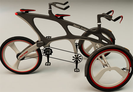 Twin Trike Enables Two People To Ride At The Same Time