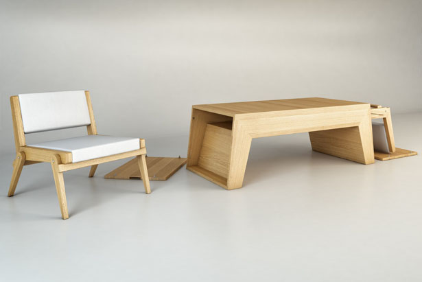 Attractive Twins Coffee Table/Lounge Chairs By Claudio Sibille