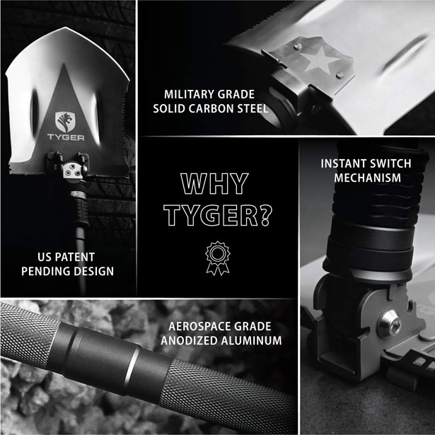 Tyger Shovel Military Heavyduty Folding Compact 16-in-1 Multitool