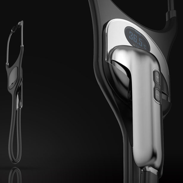 UV Stethoscope Concept Features UV-C Light to Keep The Stethoscope Sterile and Warm