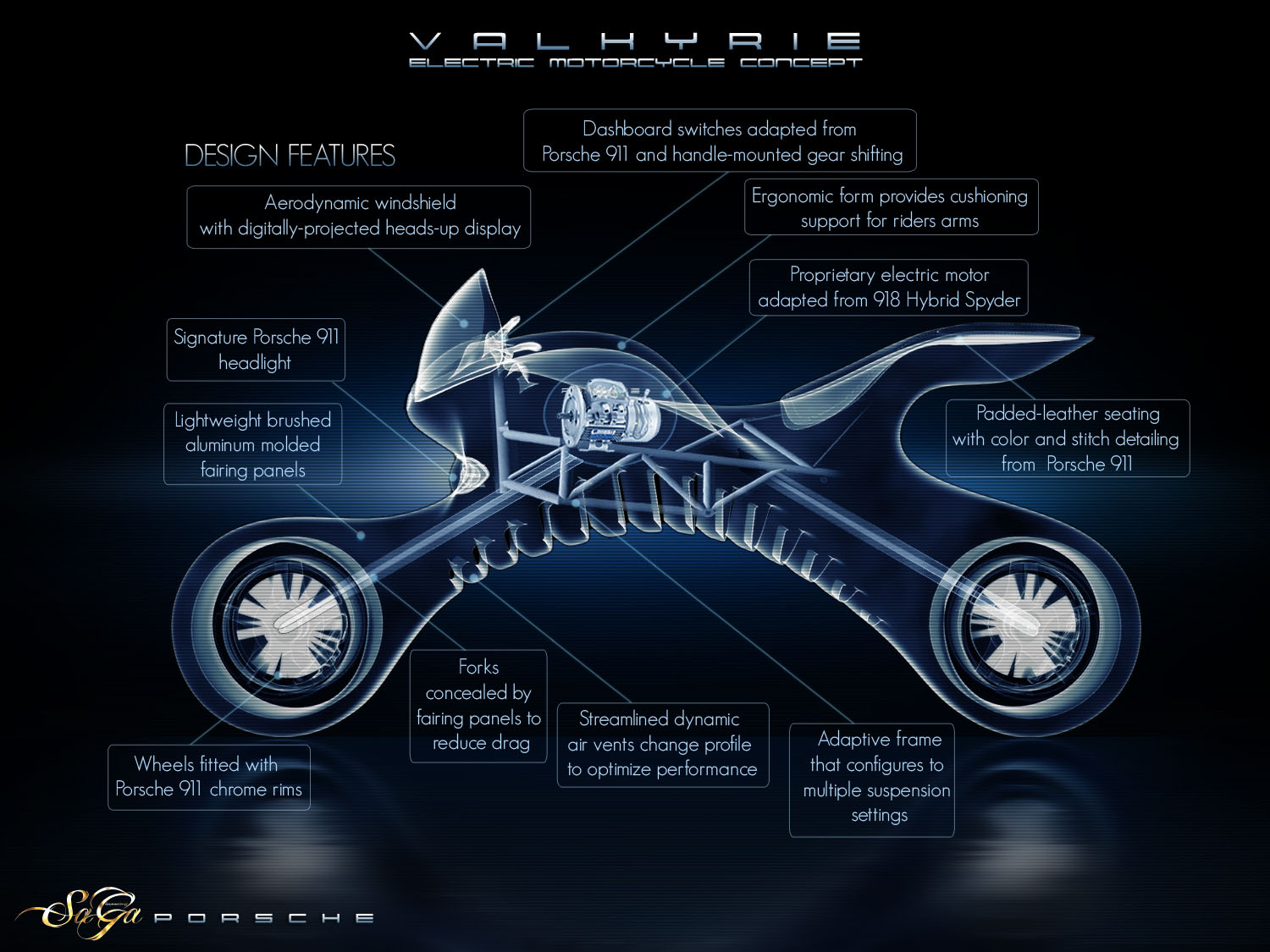 Futuristic Valkyrie Electric Motorcycle Concept Was Inspired by Porsche 911 Sportscar
