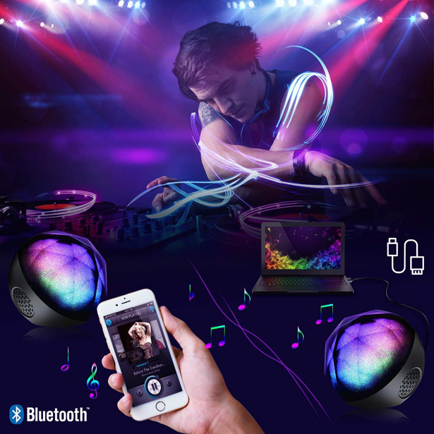 VersionTECH Portable Colorful LED Ball Speaker with a Mini Remote Control