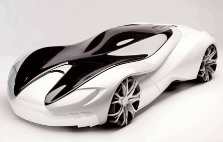 Vestige Car Design Proposal with Sleek Metallic White Body and Black Tinted Roof for Aston Martin