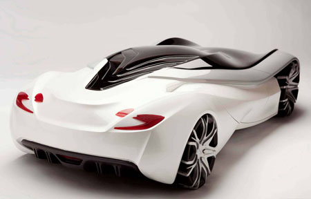 Vestige Car Design Proposal With Sleek Metallic White Body And Black