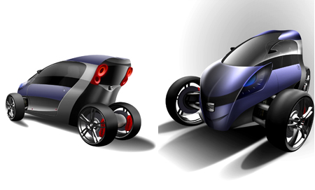 2 Person Car >> Viu 3 Wheel Electric Concept Car For 2 Persons Tuvie