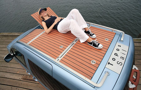 volkswagen features wooden boat deck