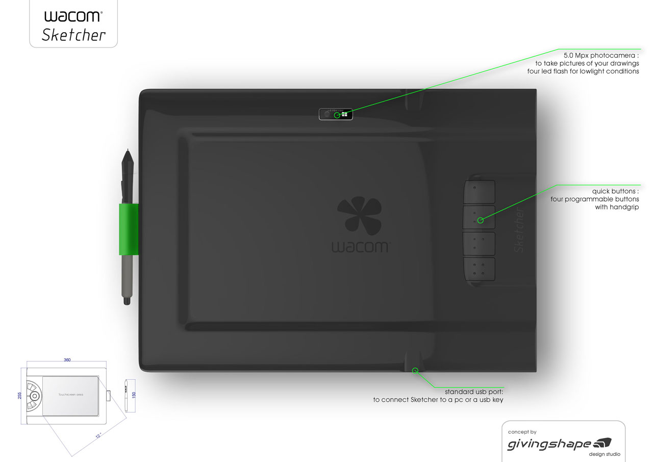 Wacom Sketcher Digital Sketchpad Concept For Illustrators And Graphic Designers Tuvie