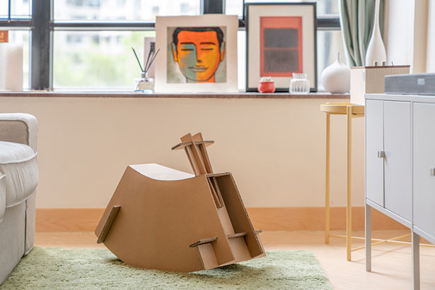 Watch and Roll - Cardboard Children Rocking Chair by Napp Studio & Architects