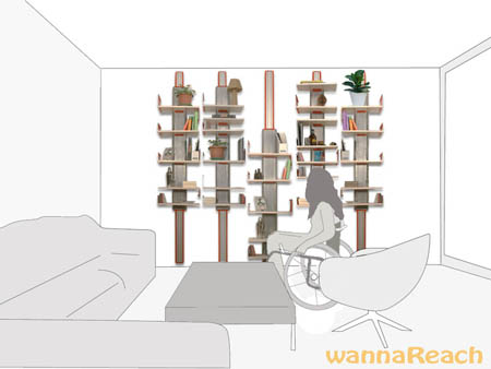 Wanna-Reach Shelf System for Personal Home Use of Paraplegic People