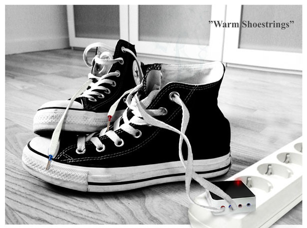 Warm Shoestrings : Dry Your Wet Shoes Through Their ShoeStrings